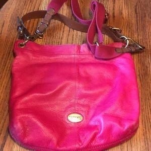 Fossil large pink leather crossbody /shoulder bag